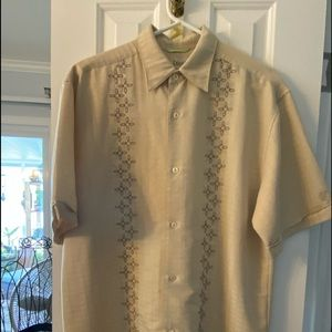 Cubavera Men's Yellow Embroidered Button up Size L